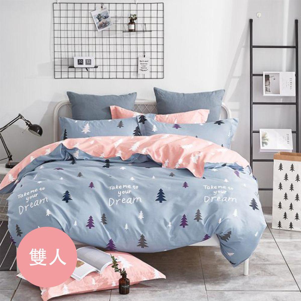 PureOne - 極致純棉寢具組-伊頓莊園-雙人鋪棉兩用被套床包四件組