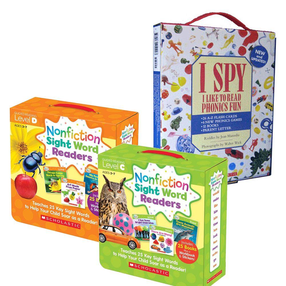 Scholastic - 【超值合購】I Spy Phonics Box 找找看單字+Nonfiction Sight Word Readers Level C+D
