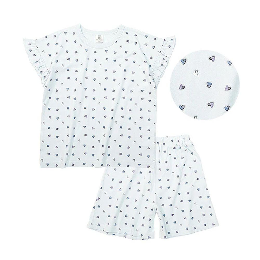 日本 devirock - 純棉短袖家居服-滿版愛心-水藍
