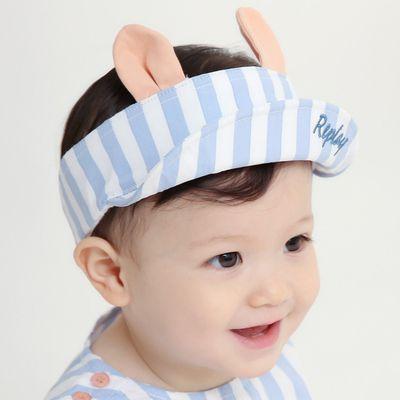 條紋小耳朵挖洞遮陽帽-藍 (48)