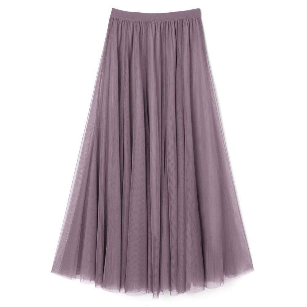 日本 GRL - 飄逸顯瘦雙層傘紗裙-星塵紫