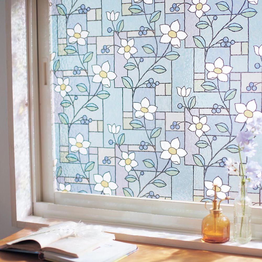日本千趣會 - 日本製 99%抗UV光影窗貼(靜電式)-復古花朵彩磚 (92x90cm)