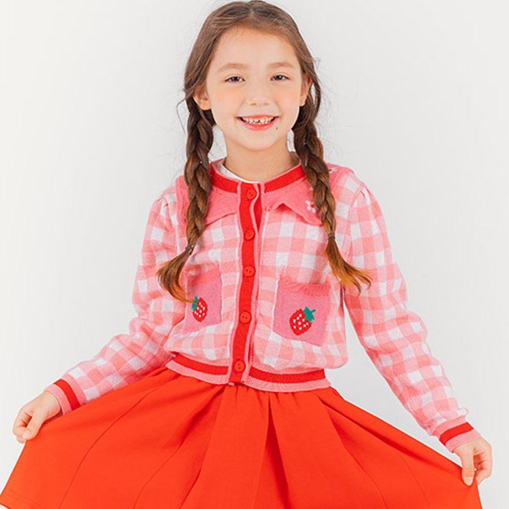 韓國 OZKIZ - 格子草莓針織外套