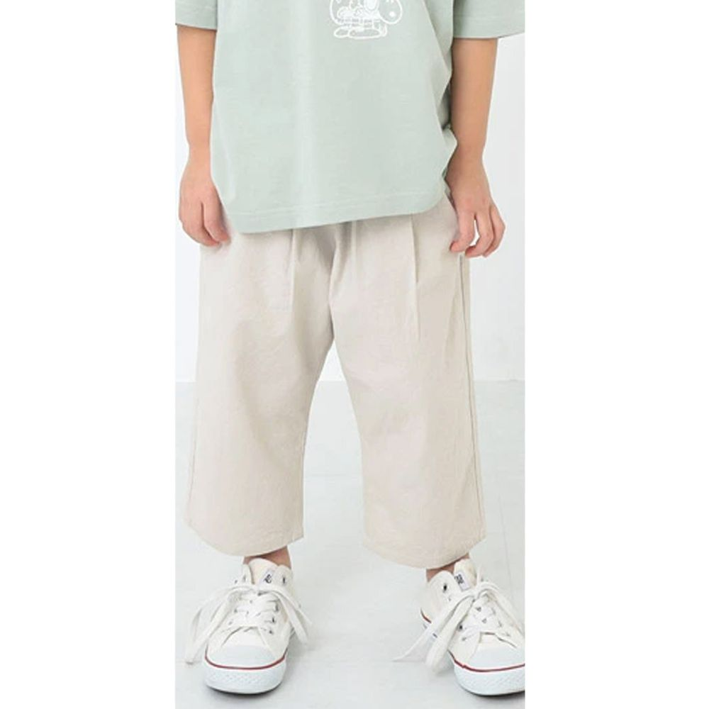 日本 devirock - 純棉舒適直筒七分寬褲-象牙米