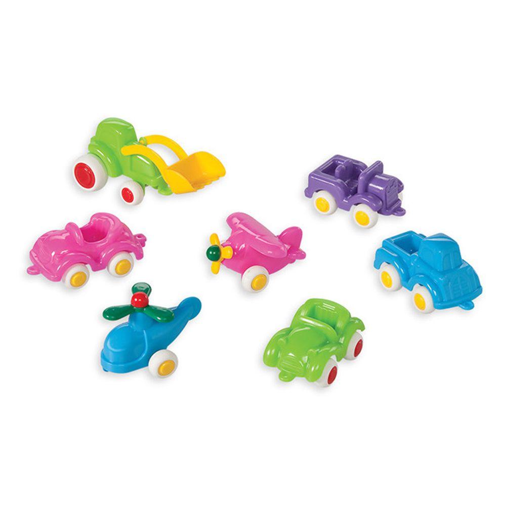瑞典Viking toys - 【新品】迷你交通小車隊(7件組)-7cm(粉嫩色)