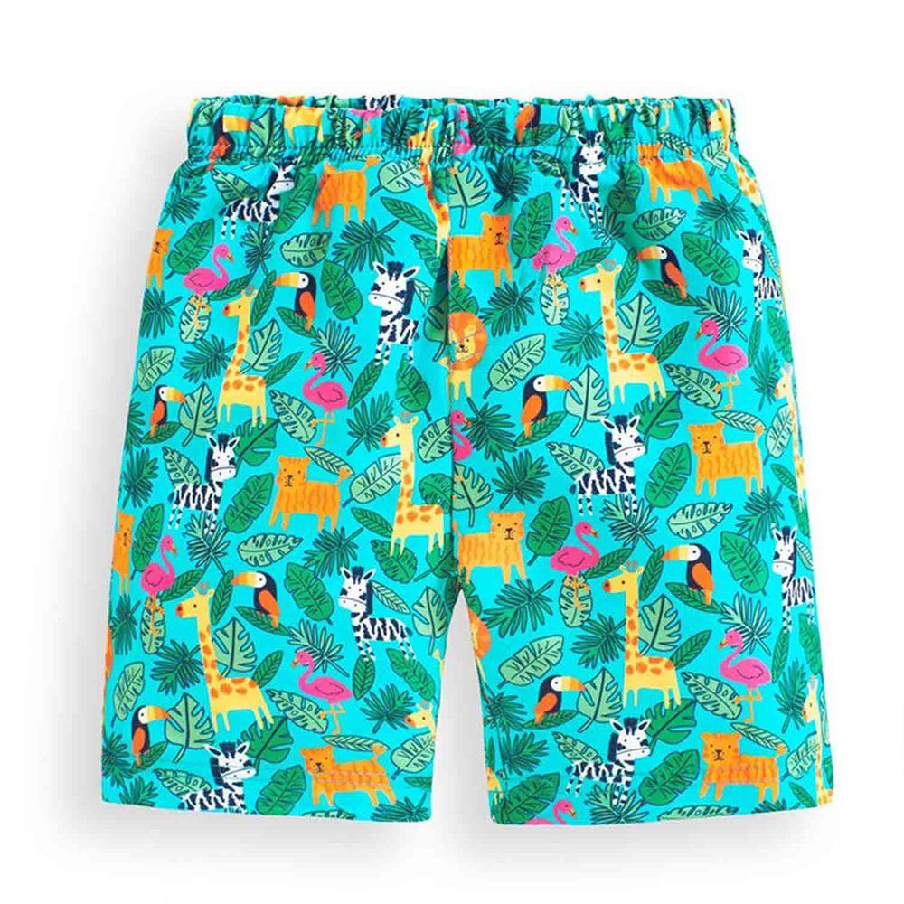 英國 JoJo Maman BeBe - 嬰幼兒/兒童長版泳褲-熱鬧叢林