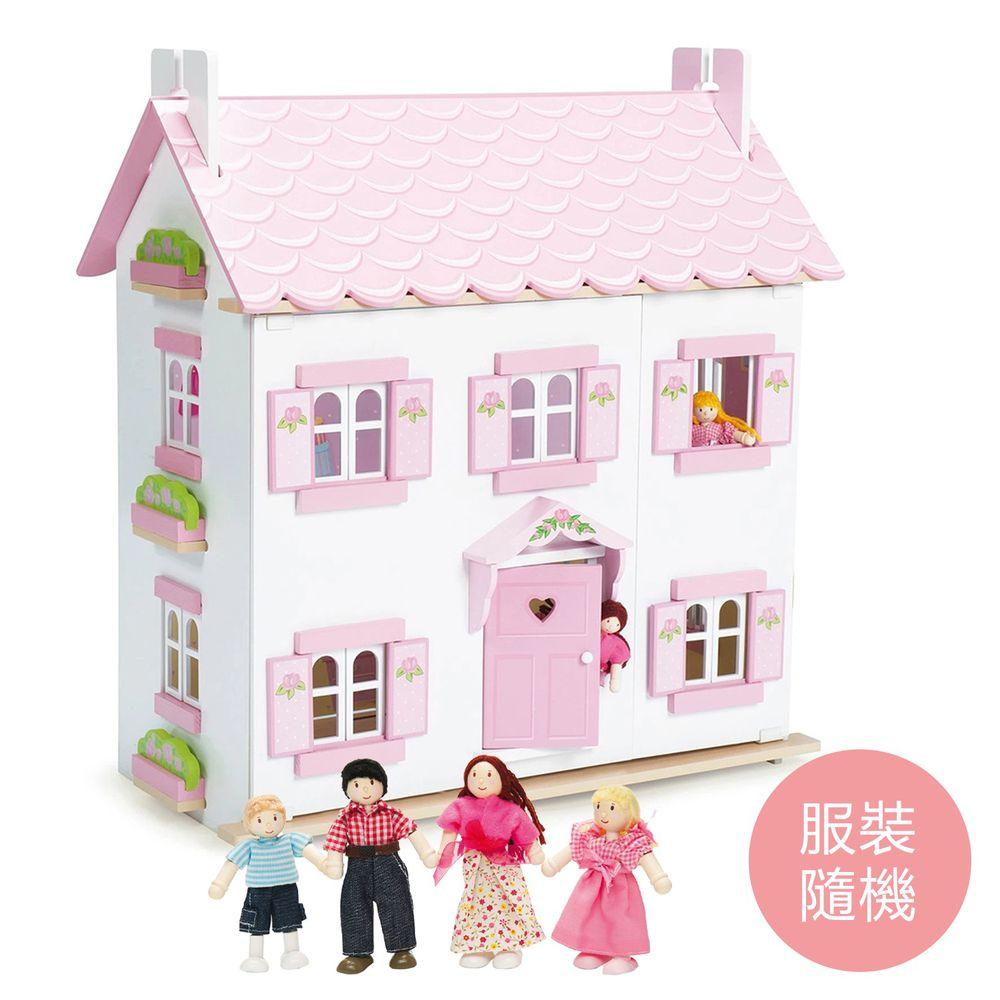 英國 Le Toy Van - 蘇菲夢幻娃娃屋 (精品裝潢不含家具)-送娃娃家族-拔拔, 麻麻與兩個小孩(服裝搭配隨機)