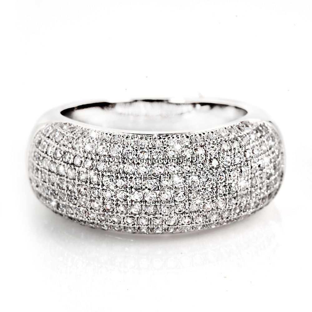 美國ILG鑽飾 - Fashion drill 密鑽寬版戒指-頂級美國ILG鑽飾,媲美真鑽亮度的鑽飾-加贈高級珠寶級絨布盒1個-外國抗敏材質電鍍頂級白K金色