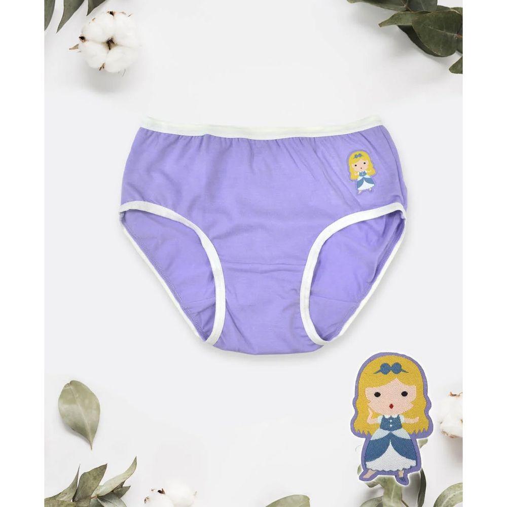 貝柔 Peilou - 天絲棉舒膚平衡童女三角褲-貼布繡-灰姑娘-紫