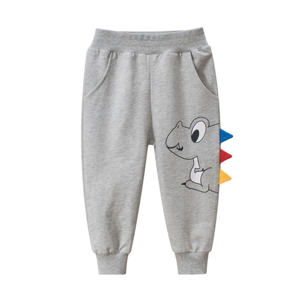 純棉長褲-Q版小恐龍-灰色
