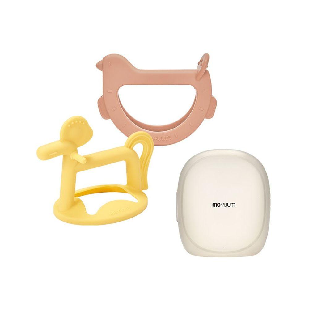 韓國 Moyuum - 白金矽膠手環固齒器禮盒-咘咕馬款-珊瑚橘+檸檬黃