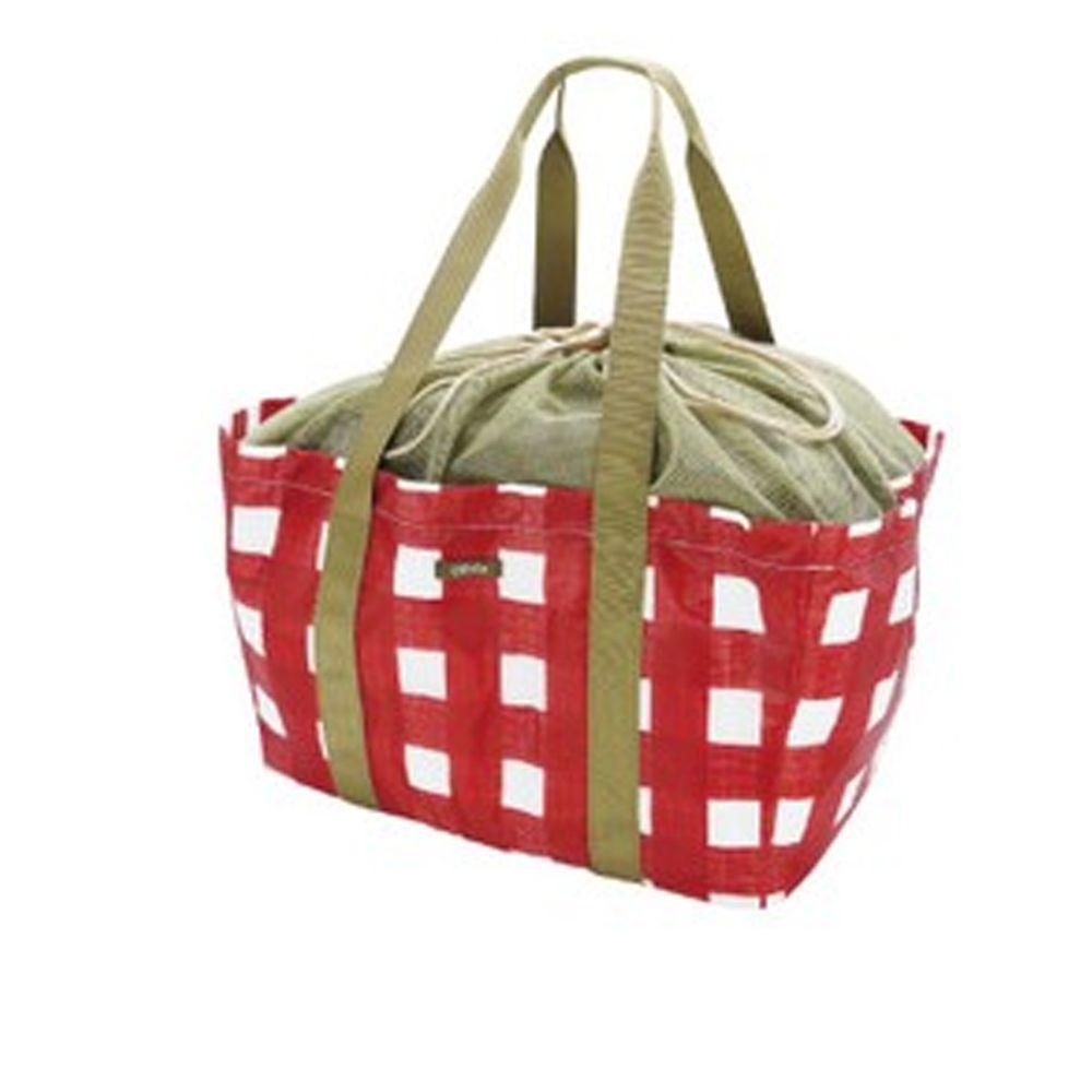 日本現代百貨 - 輕便可收納 保溫保冷袋/購物袋-紅白格子 (42x22x25cm)