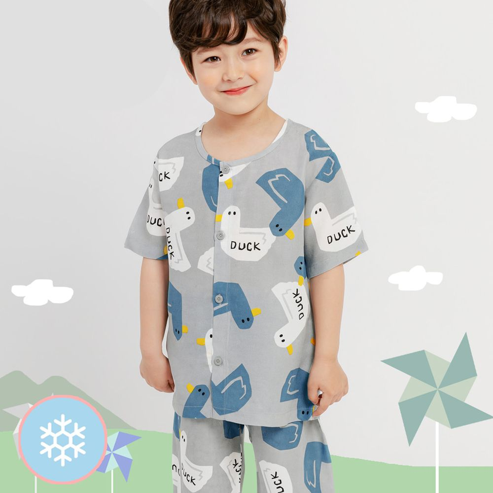 韓國 Mellisse - 韓製涼感嫘縈短袖睡衣/家居服-藍色鴨鴨