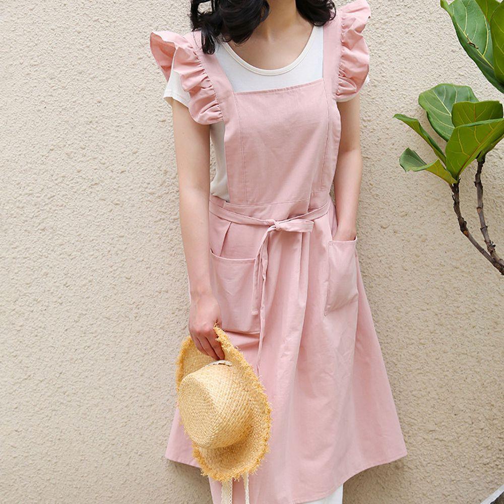 浪漫荷葉袖肩帶圍裙-粉色