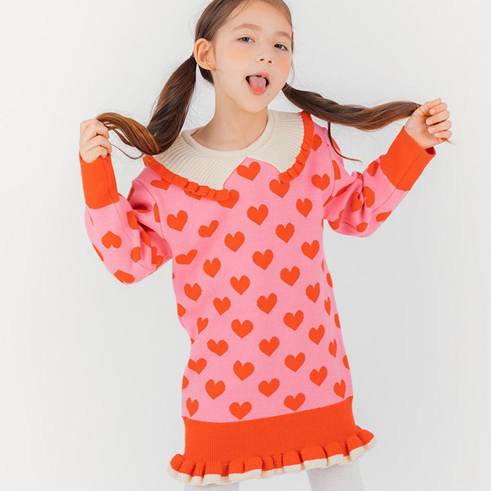 韓國 OZKIZ - 粉紅愛心直筒針織洋裝