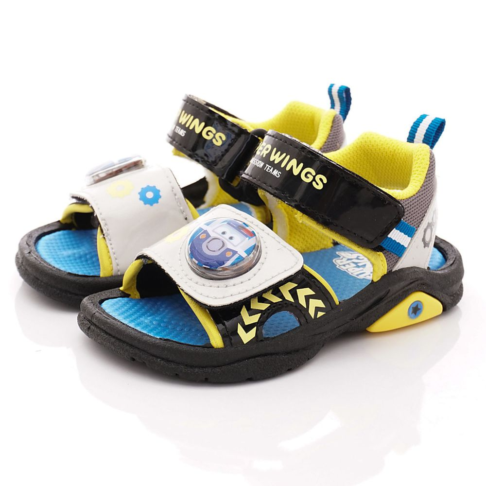SuperWings - 卡通童鞋-電燈涼鞋款(中小童段)-黑