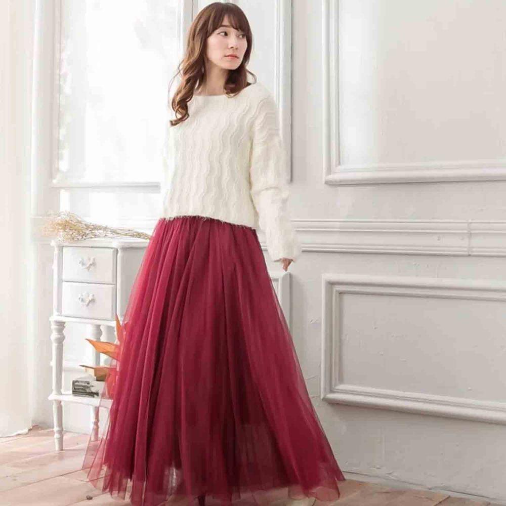 Peachy - 獨家訂製綿柔法式浪漫三層蓬紗裙-三層蓬版-性感酒紅 (F)
