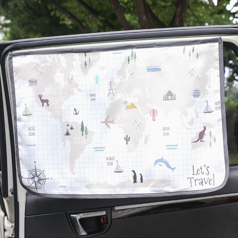 韓國 Bebe Deco - 三層遮光磁鐵遮陽窗簾-環遊世界 (65*45cm)