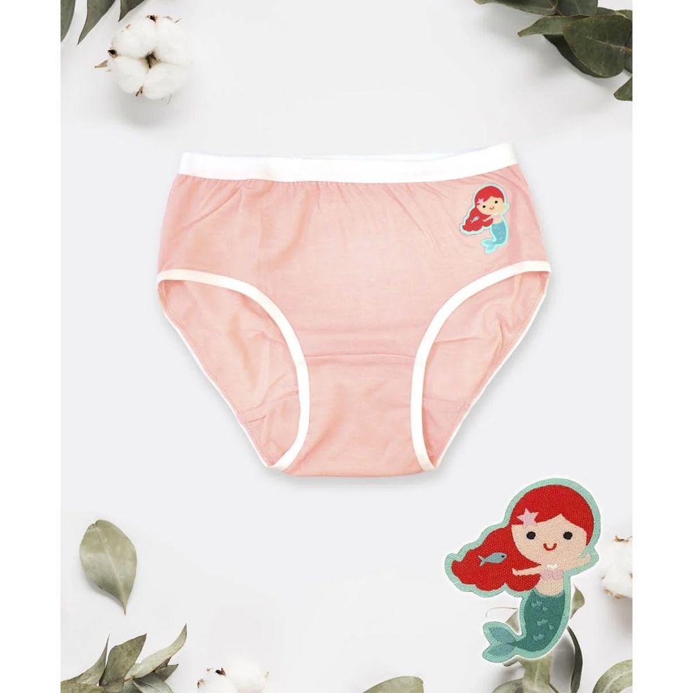 貝柔 Peilou - 天絲棉舒膚平衡童女三角褲-貼布繡-美人魚-橘