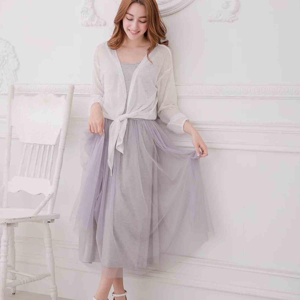 Peachy - 獨家訂製綿柔連身紗裙-細肩帶連身款-溫柔灰 (F)