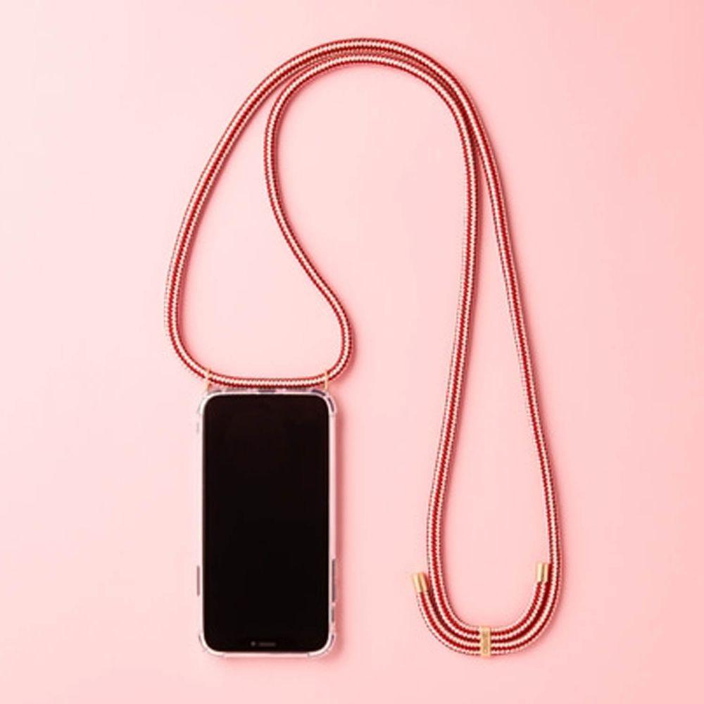 韓國 ARNO - 編繩背帶透明手機殼-亮眼紅