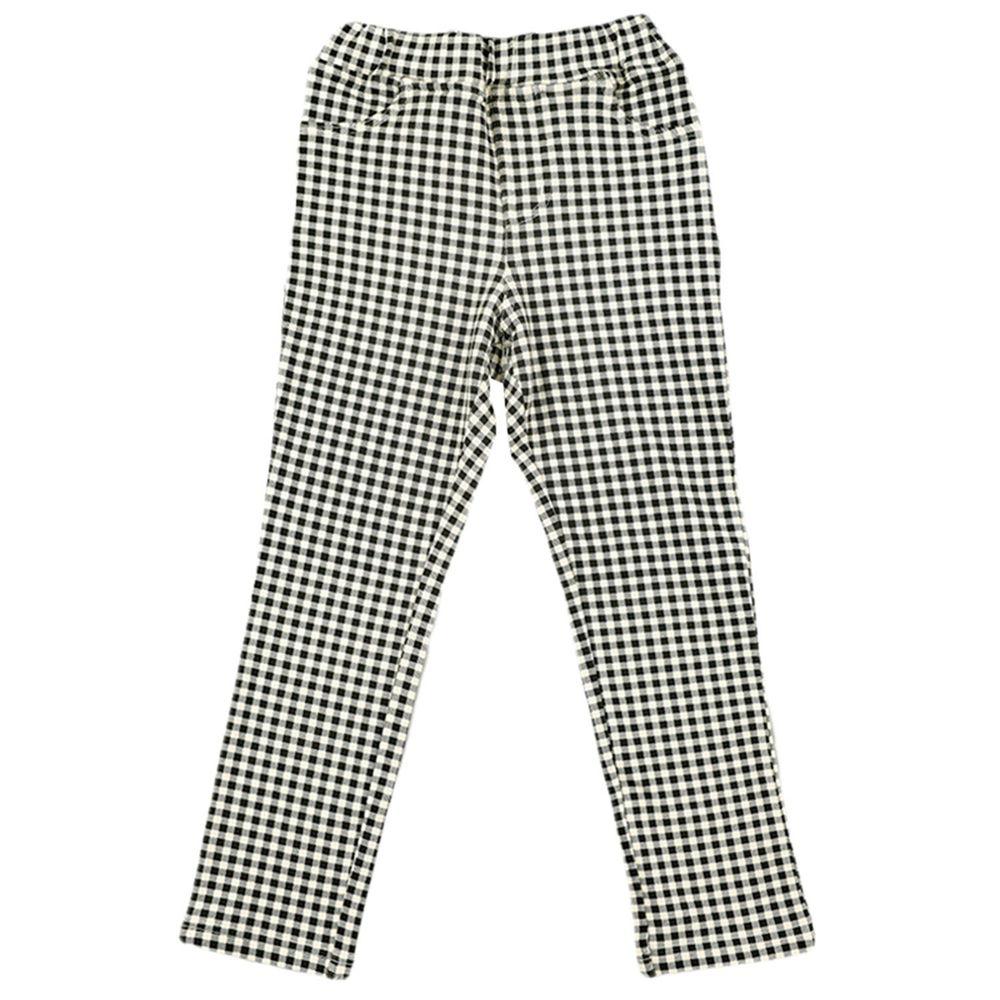 akachan honpo - 10分彈性褲-花紋-黑色