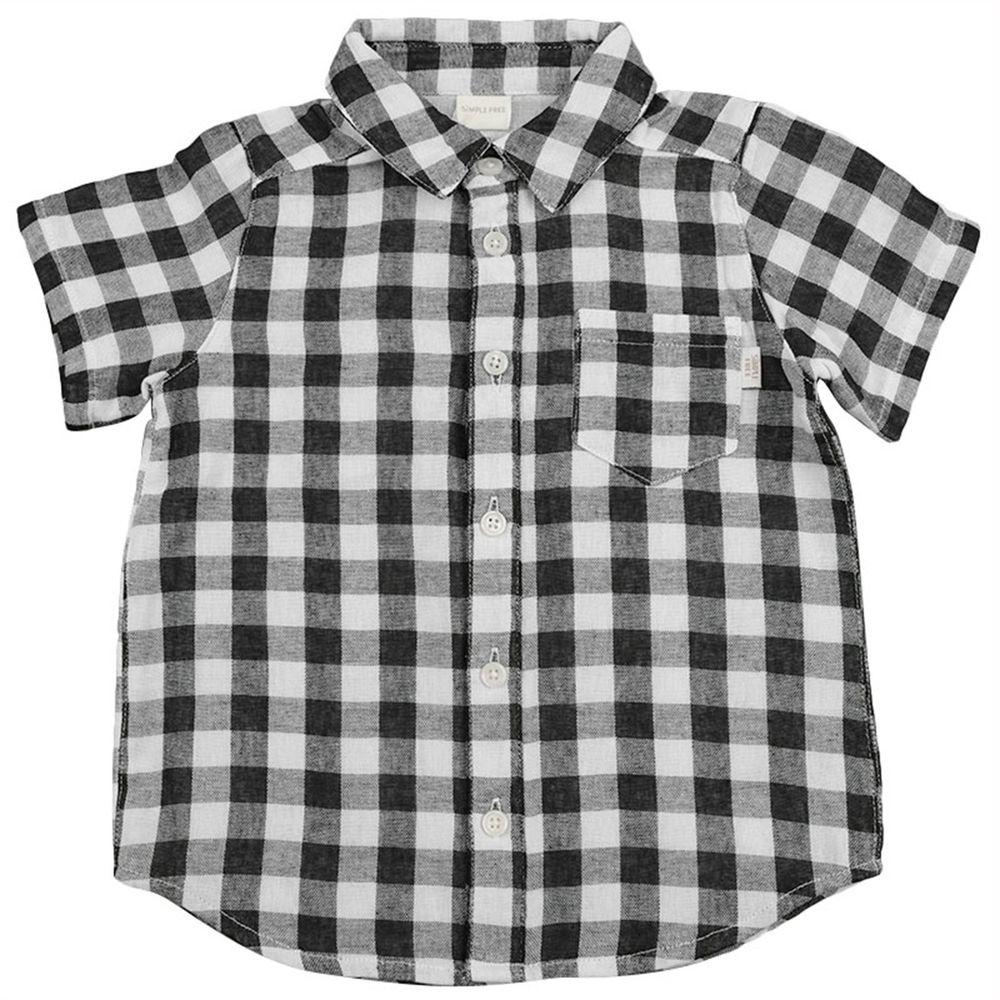 akachan honpo - 短袖襯衫-格紋-黑色