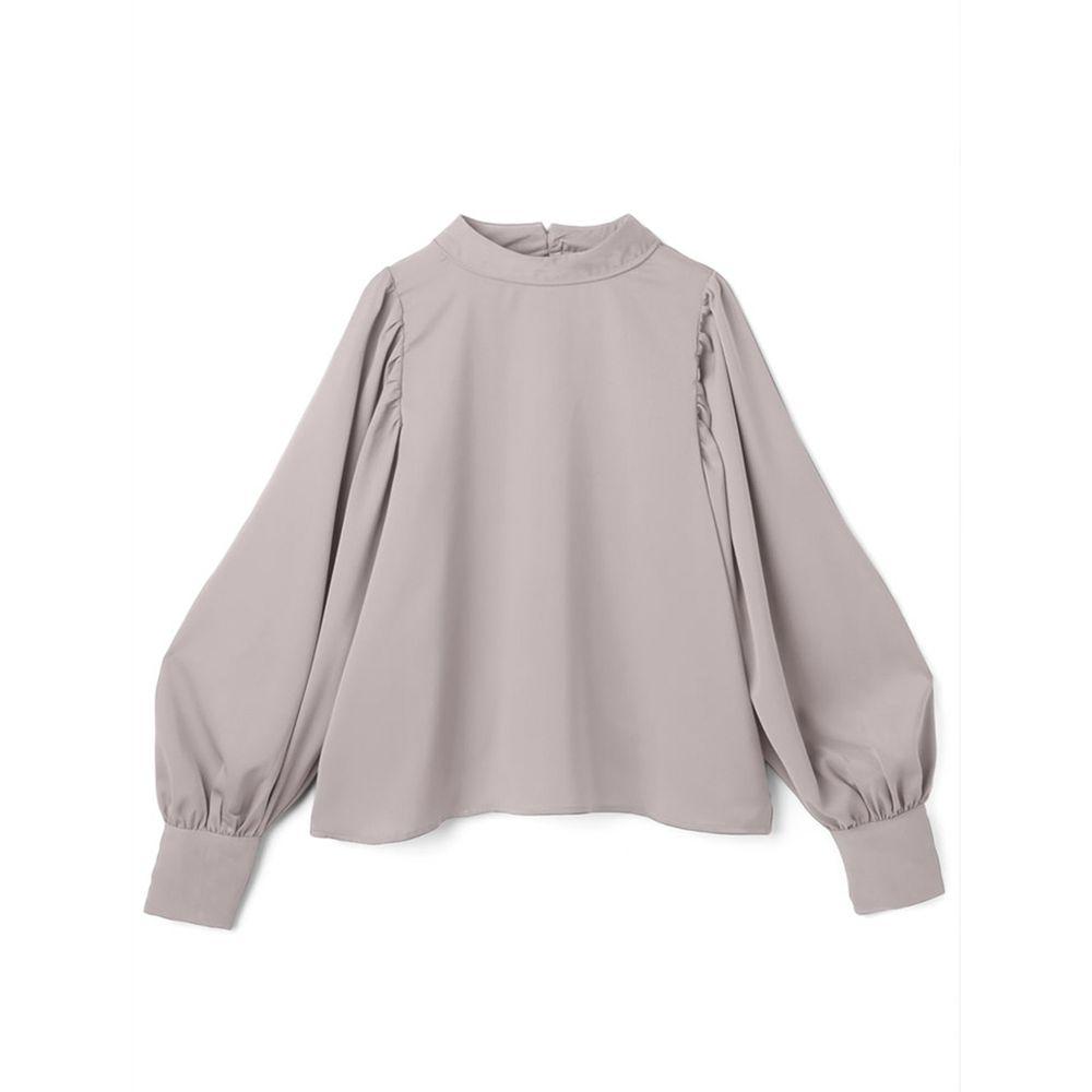 日本 GRL - 奢華雪紡質地澎袖長袖上衣-淺灰杏