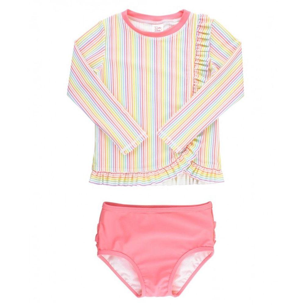 美國 RuffleButts - 小女童UPF 50+防曬兩件式長袖泳裝-夏日彩虹