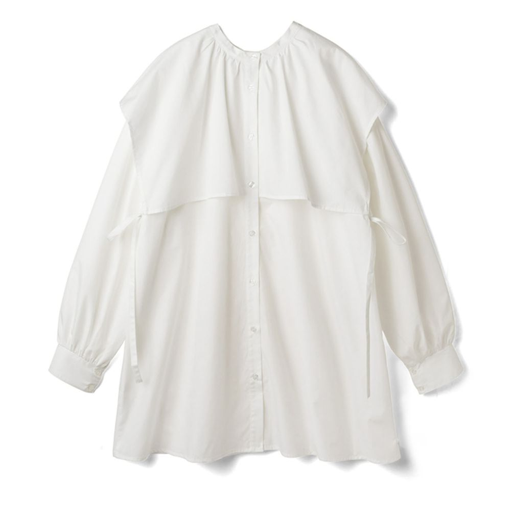 日本 GRL - 側蝴蝶結綁帶大方領長袖短版洋裝-白