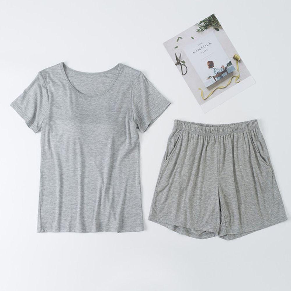 莫代爾柔軟涼感Bra T家居服-短褲套裝-淺灰色