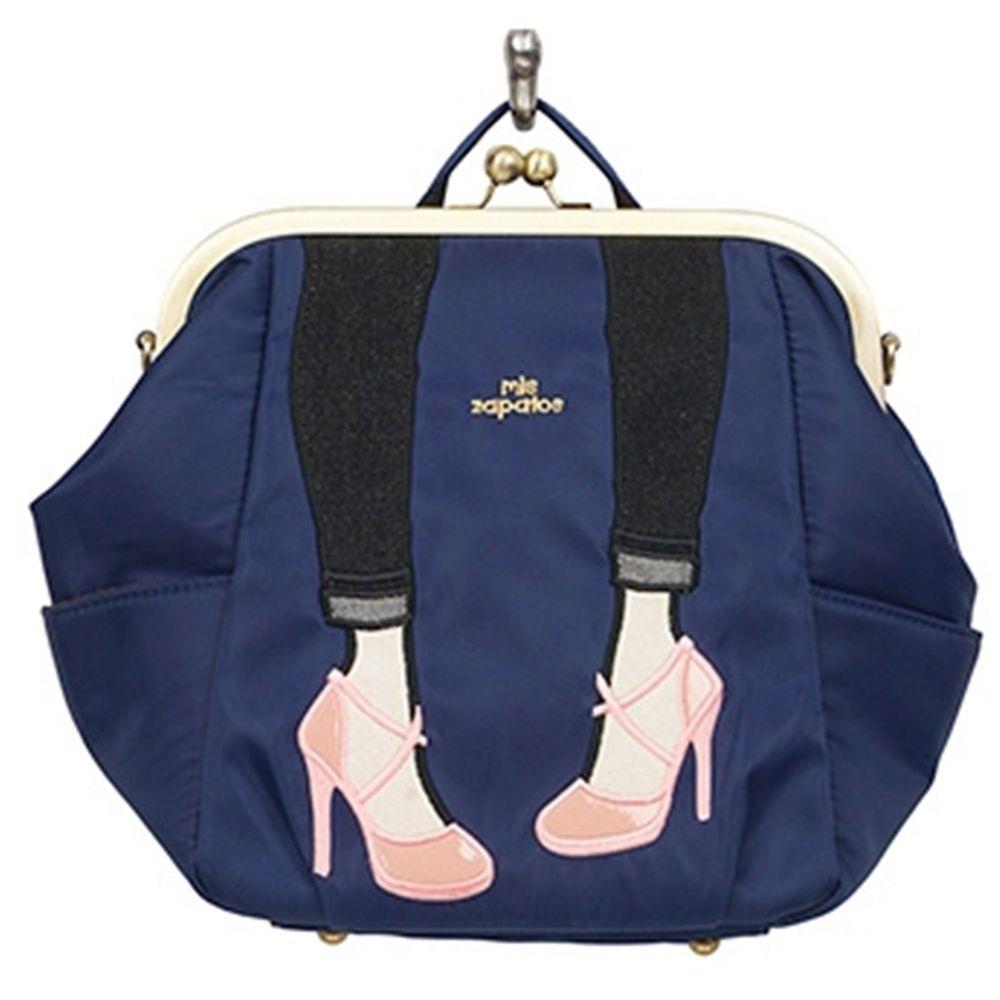 mis zapatos - 3way高跟鞋口金包(尼龍)-NV海軍藍 (27*22*13cm)