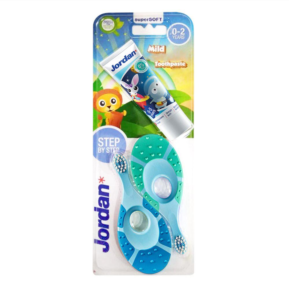 挪威JORDAN - 無毒可咀嚼防滑握柄寶寶牙刷-(0-2歲)超值包-附贈小牙膏