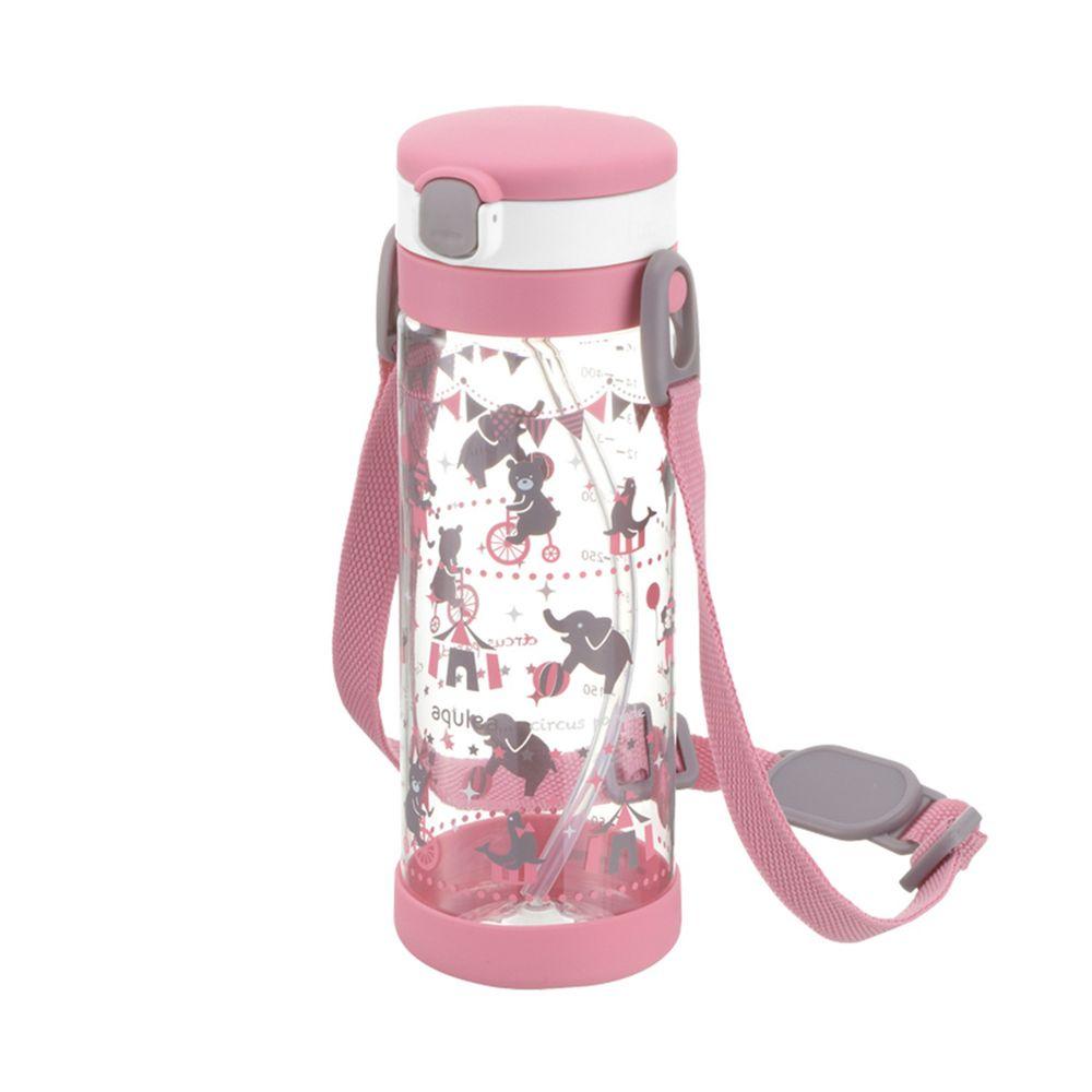 日本 Richell 利其爾 - 粉紅派對吸管冷水壺-動物馬戲團圖案-粉-450ml