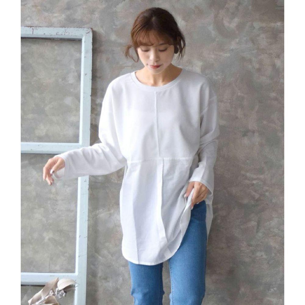 日本 zootie - 異材質拼接寬鬆薄長袖上衣-白