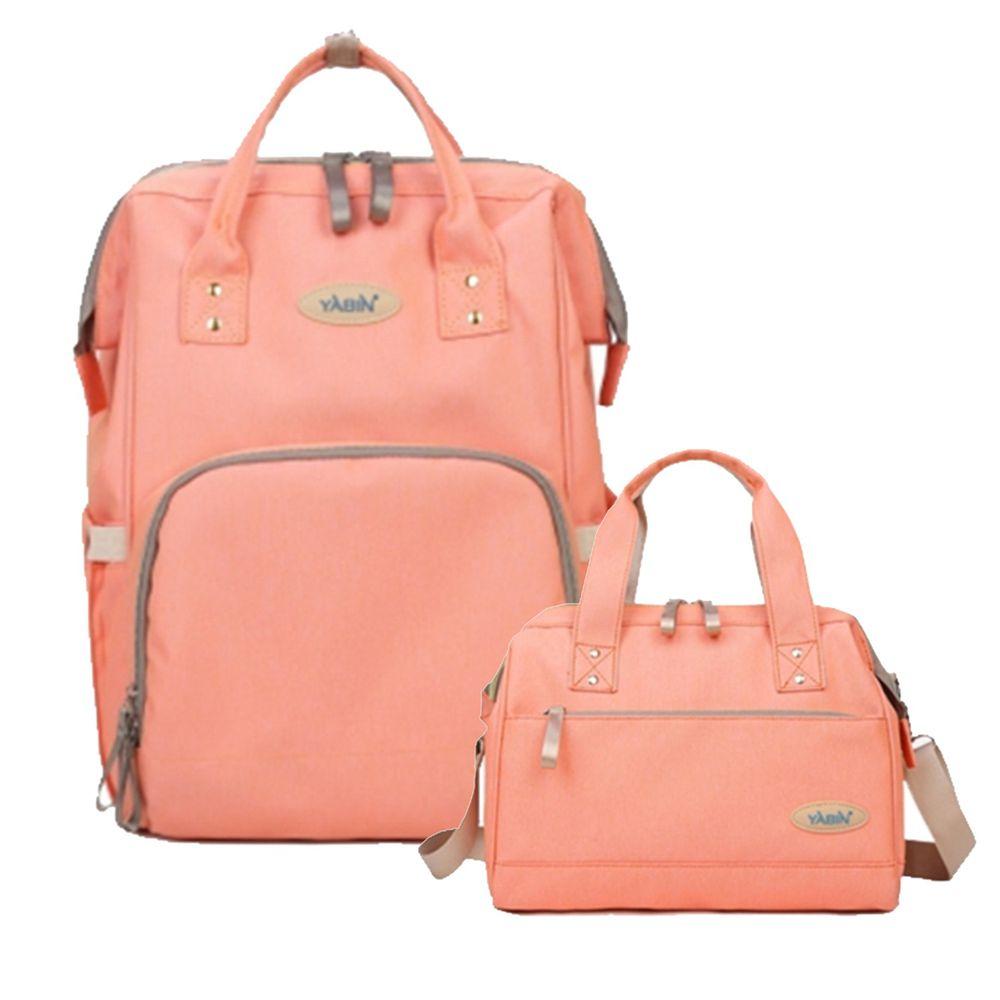 YABIN - 經典大開口後背包+手提小包-大包-粉色-小包-粉色