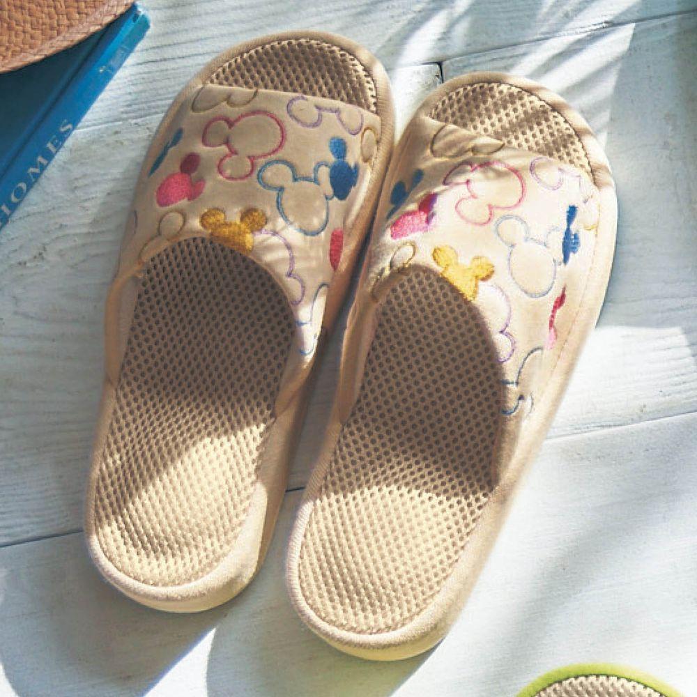 日本千趣會 - 迪士尼刺繡透氣鞋墊室內拖-繽紛米奇大頭-焦糖