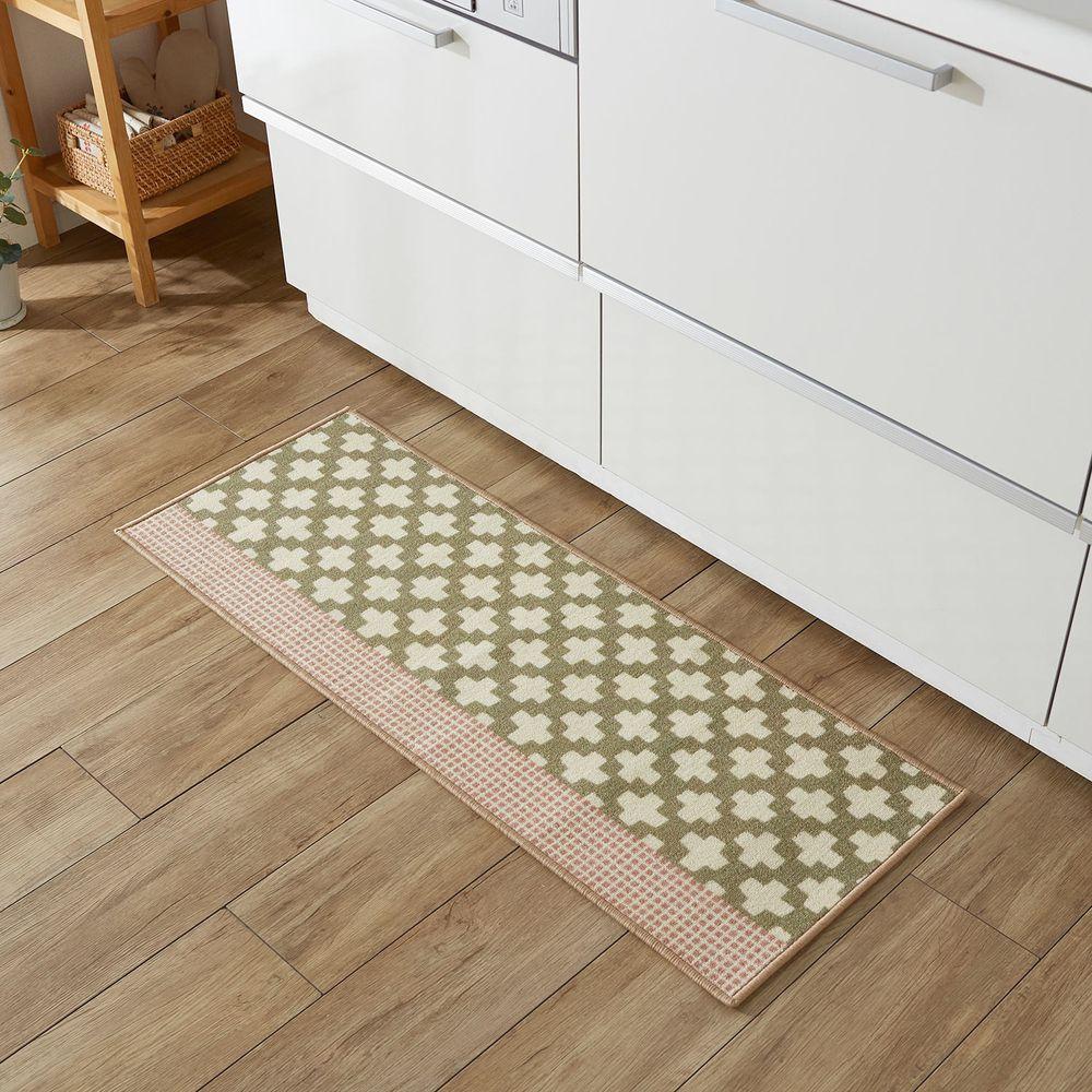 日本千趣會 - 北歐風 長條型腳踏墊(廚房/臥室)-十字紋-灰X粉