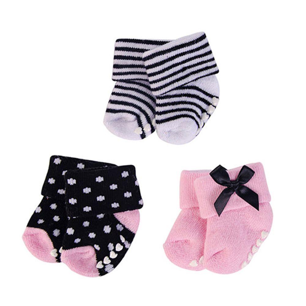 美國 Luvable Friends - 嬰兒襪/寶寶襪/初生襪 3入組-黑蝴蝶結 (0-6M)