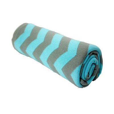 Cityblanket純棉針織毯-藍灰條