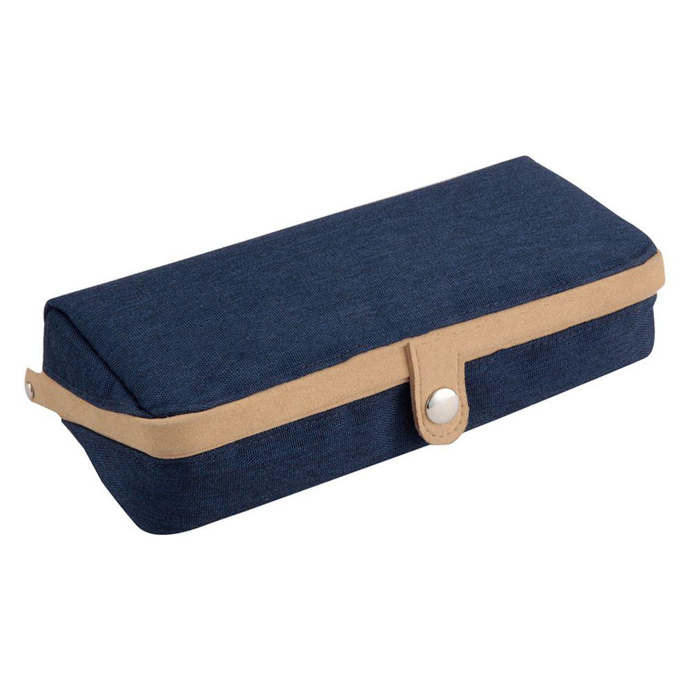 日本文具代購 - 大容量大開口鉛筆盒-深藍 (22x5x10cm)