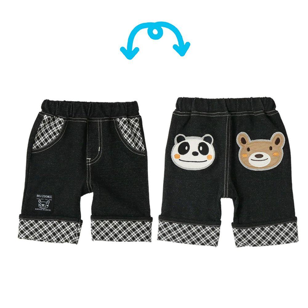 日本 ZOOLAND - 動物格紋五分褲-小熊熊貓大臉-黑