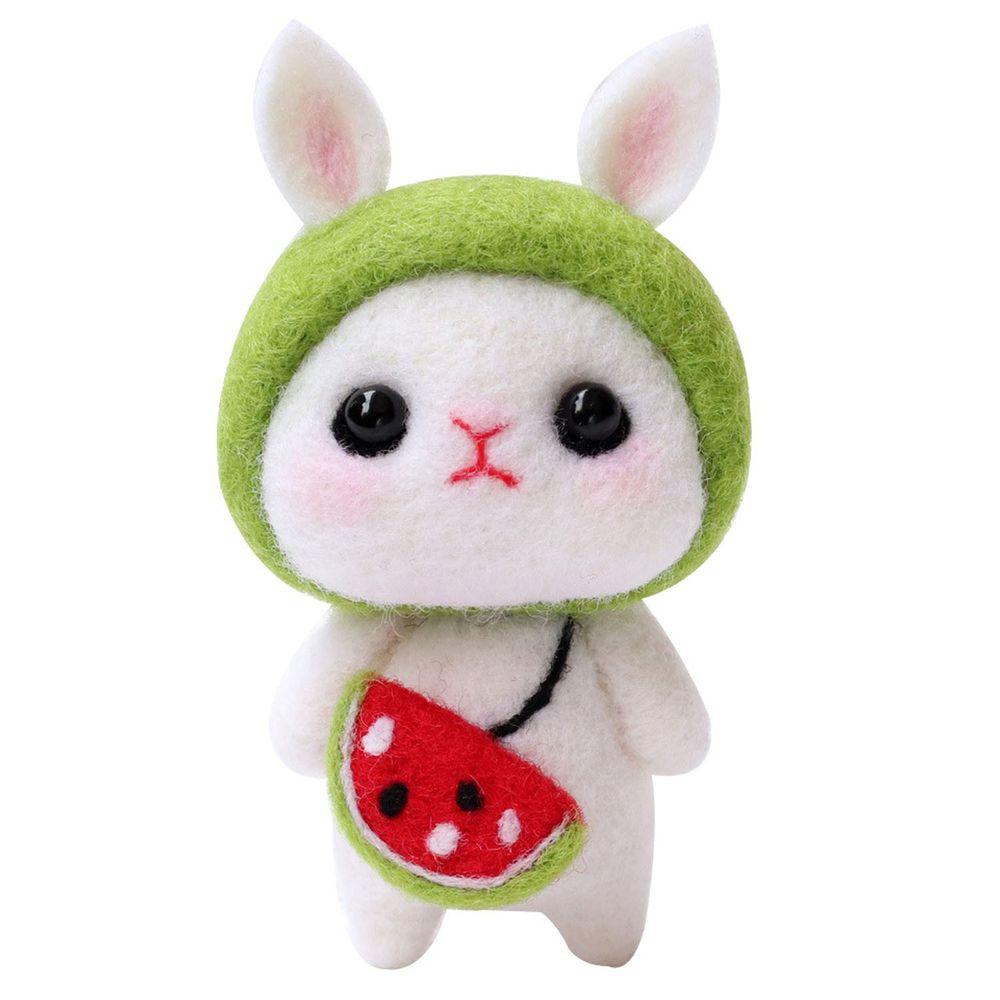 Diy療癒兔子羊毛氈戳戳樂材料包-綠色兔兔