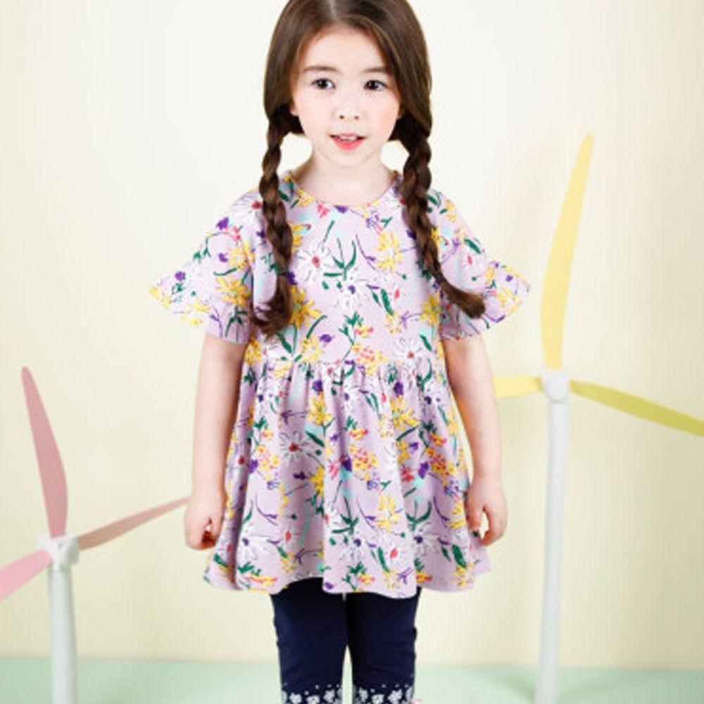 韓國 Jelispoon - 落肩荷葉袖抓腰碎花上衣-紫