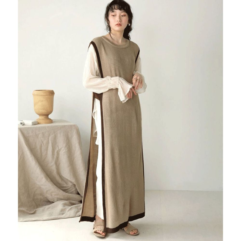 日本 Bou Jeloud - 撞色針織長版背心洋裝-杏