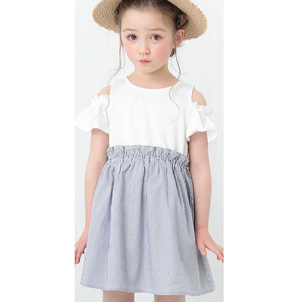 日本 devirock - 挖肩荷葉短袖拼接洋裝-白X藍條紋
