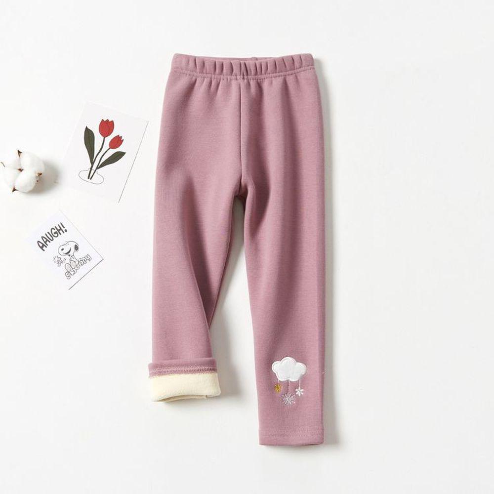FANMOU - 溫暖加絨內搭褲-雲雨雪-粉色