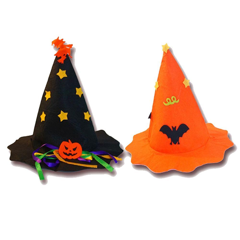 摩達客 - 萬聖節派對-超萌兒童南瓜星星巫婆尖頂帽兩入對組(一橘+一黑尖頂帽)-橘色+黑色