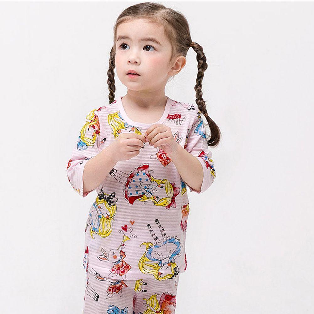 韓國 Mellisse - (剩90,120)韓製透氣七分袖家居服(無螢光棉)-愛麗絲夢遊仙境