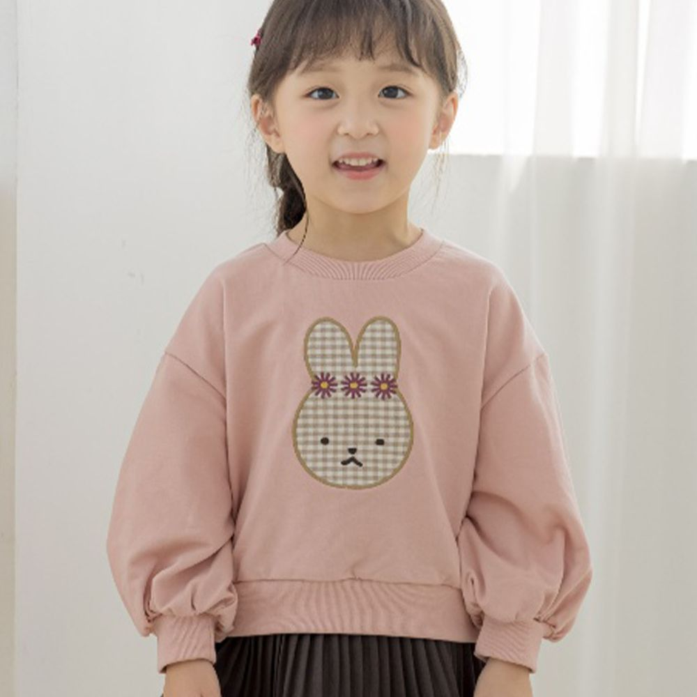 韓國 Orange Mom - 格子兔兔泡泡袖T-粉紅